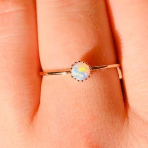 NEW Round Opal Rose Gold Ring